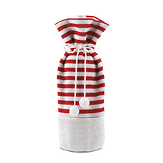 RED/WHITE KNIT SINGLE BOTTLE BAG